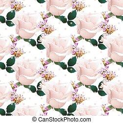 roze, sleutelbloem, realistisch, roos, achtergrond., kleuren, delicaat, vector., model, floral, bloemen
