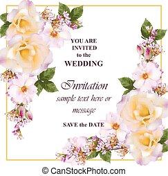 roze, sleutelbloem, roos, flowers., lavendel, uitnodiging, kleuren, delicaat, vector., huwlijkskaart