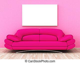 roze, sofa