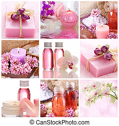 roze, spa, collage