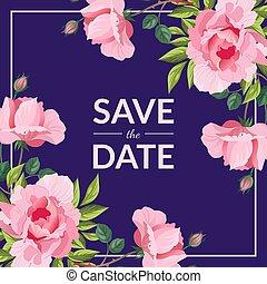 roze, sparen, peony, uitnodiging, illustratie, elegant, vector, mal, trouwfeest, bloemen, datum, kaart