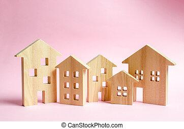 roze, stad, concept, gebouwen., zakelijk, town., investeren, bouwsector, landgoed, house., of, achtergrond., management, aankoop, partij, echte, houten, huisen, management, coverage., markt