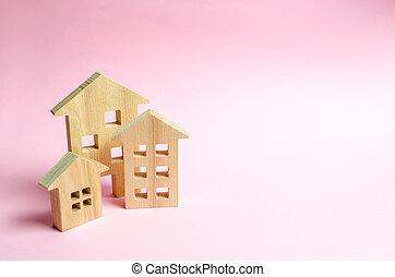 roze, stad, concept, gebouwen., zakelijk, town., investeren, bouwsector, landgoed, house., of, achtergrond., management, aankoop, echte, houten, huisen, management, coverage., markt
