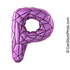 roze, stijl, latijn, p, kleur, vrijstaand, poly, plastic, achtergrond., laag, brief, hoofdstad, witte , 3d