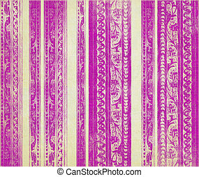 roze, strepen, hout, gekerfde, floral, room