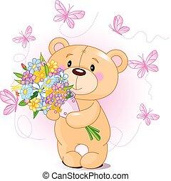 roze, teddy beer, met, bloemen