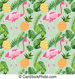 roze, tropische , ananassen, model, bladeren, seamless, flamingo's, palm, modieus