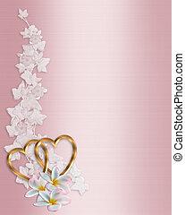 roze, trouwfeest, grens, uitnodiging