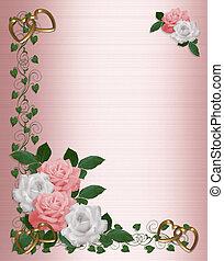 roze, trouwfeest, rozen, uitnodiging, witte , grens