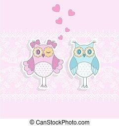 roze, uilen, twee, achtergrond