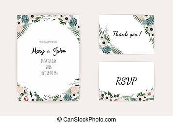 roze, uitnodiging, u, danken, leaves., roos, style., watercolor, datum, ontwerp, vector., trouwfeest, olive, sparen, template., kaart, rsvp