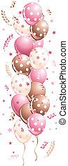roze, vakantie, ballons, in lijn