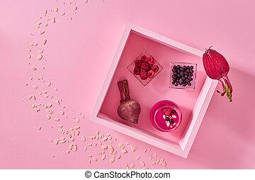 roze, van hout vensterraam, space., frambozen, papier, biet, achtergrond, fris, smoothies, kopie, hoogste mening
