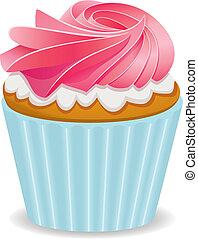 roze, vector, cupcake