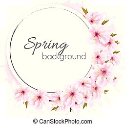 roze, vector., lente, flowers., achtergrond, bloeien
