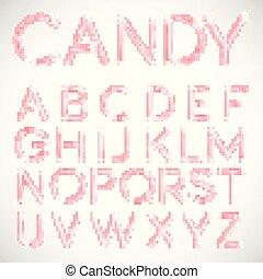 roze, vector, lettertype, versuikeren