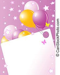 roze, verjaardag kaart