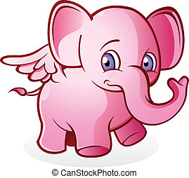 roze, vliegen, spotprent, elefant