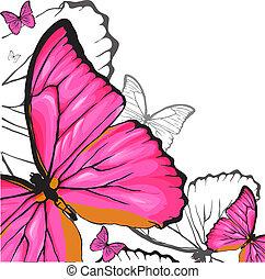 roze, vlinder, achtergrond