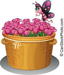 roze, vlinder, mand, rozen