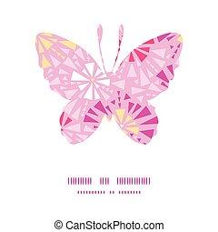 roze, vlinder, silhouette, model, abstract, vector, frame, driehoeken