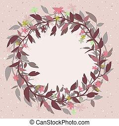 roze, vorm, frame, wreath., vector, achtergrond, floral, ronde