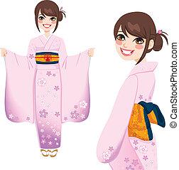 roze, vrouw, kimono, japanner