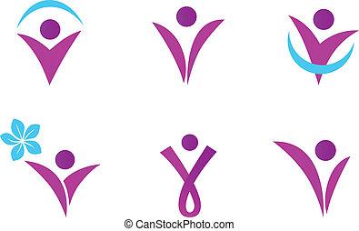 roze, vrouw, passen, abstract, -, vrijstaand, witte , pictogram