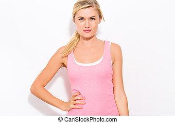 roze, vrouw, reservoir, passen, bovenzijde, jonge