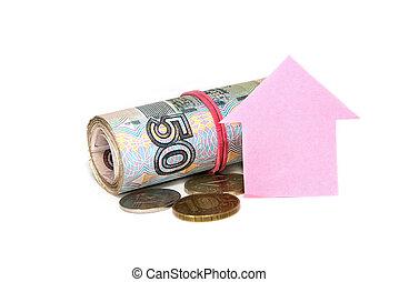 roze, woning, achtergrond., geld, russische , witte , eigendom, aankoop