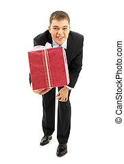 roze, zakenman, vrolijke , cadeau, verpakken