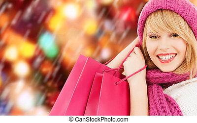 roze, zakken, vrouw winkelen, hoedje, sjaal