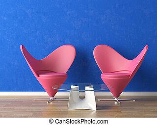 roze, zetels, op, blauwe muur