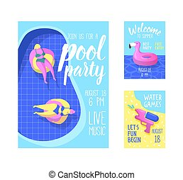 roze, zomer, flamingo, spandoek, poster, partij., inflatable, illustratie, invitation., vector, flyer, water., informatieboekje , feestje, vlotten, strand, pool, mal