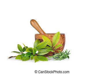 rozemarijn, en, baai, kruid, bladeren