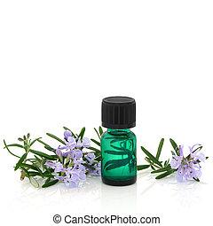 rozemarijn, kruid, bloemen, en, essentie