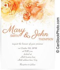 rozen, abstract, huwelijk uitnodiging