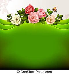 rozen, achtergrond, groene
