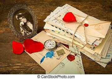 rozen, brieven, en, een, verticaal