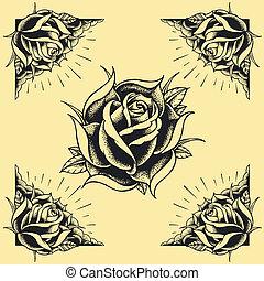 rozen, en, frame, tatoeëren, stijl, ontwerp