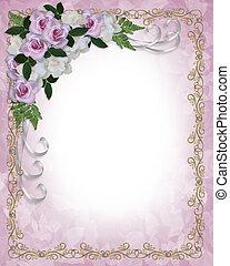 rozen, en, gardenias, huwelijk uitnodiging