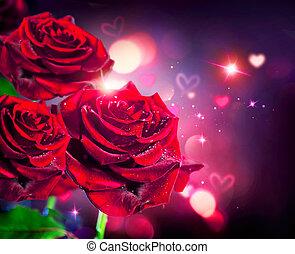 rozen, en, hartjes, achtergrond., valentijn, of, huwlijkskaart, ontwerp