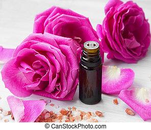 rozen, essentie, fles