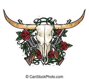 rozen, etiket, schedel, design.