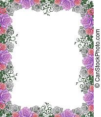 rozen, fra, trouwfeest, grens, uitnodiging