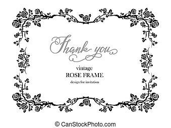 rozen, frame, black , trouwfeest