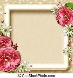 rozen, frame, foto, ouderwetse