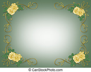 rozen, frame, gele, trouwfeest