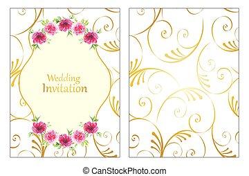 rozen, frame, huwelijk uitnodiging