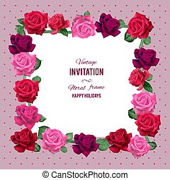 rozen, frame, rood